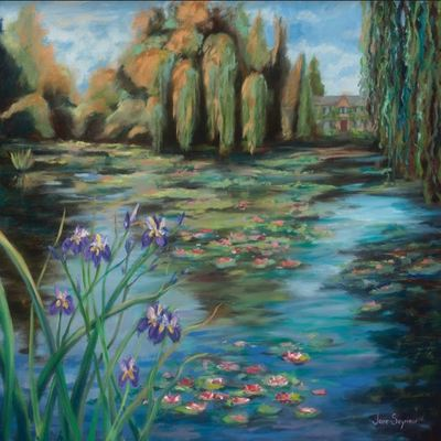 JANE SEYMOUR - Water Lily Landscape with Monet's Home - Oil on Canvas - 24 x 30 inches