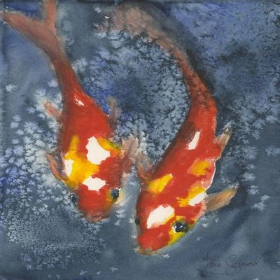 JANE SEYMOUR - Sparkling Koi: Twins LXXXIII - Watercolor on Paper - 12 x 9 inches