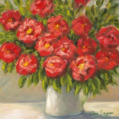 JANE SEYMOUR - Romantic Red Roses - Oil on Canvas - 12 x 12 inches