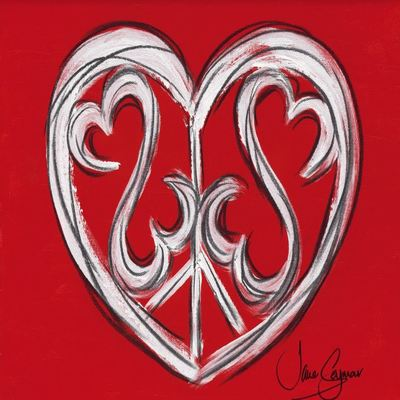 JANE SEYMOUR - Peace, Love and an Open Heart - Mixed-Media on Canvas - 12 x 16 inches