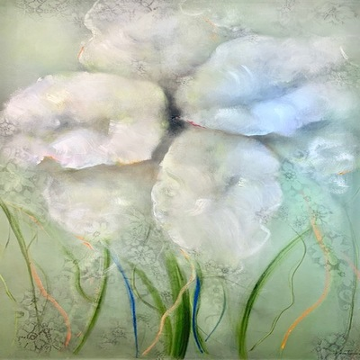 VICTORIA MONTESINOS - A New Beginning - Oil and Ink on Canvas - 48x36 inches