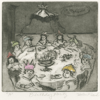 HELEN FRANK - Birthday Party - Hand Colored Etching