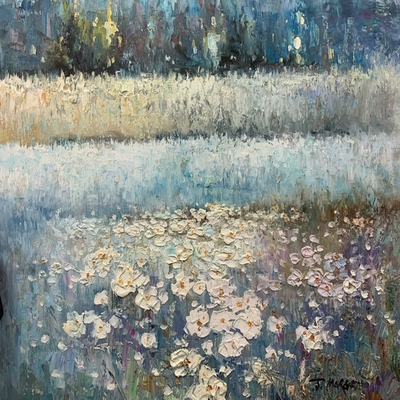 J MORGAN - Daisies at Dusk - Oil on Canvas - 20 x 24 inches