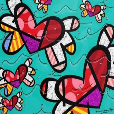 ROMERO BRITTO - Teal Passion - Original on Canvas - 36 x 48 inches