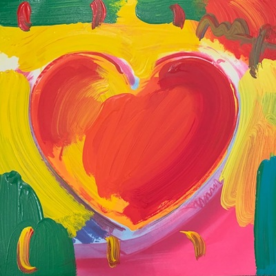 PETER MAX - Heart - Acrylic/Lithograph/Paper - 11x11 inches