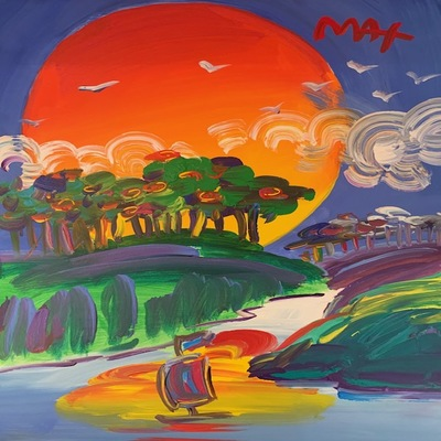 PETER MAX - Without Borders - Acrylic on Paper - 20x16 inches