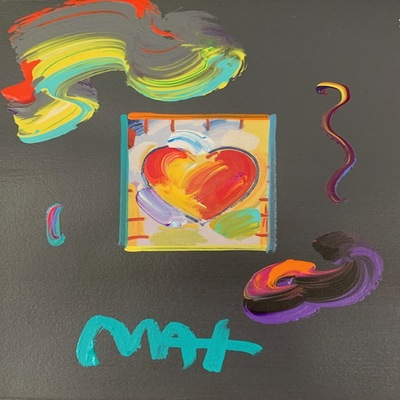 PETER MAX - Heart Series - Mixed Media Paper - 11x8.5 inches