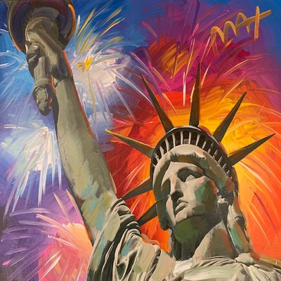 PETER MAX - Statue of Liberty-Fireworks - Mixed Media Paper - 16x20 inches