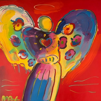 PETER MAX - Angel With Heart - Acrylic on Paper - 20x16 inches