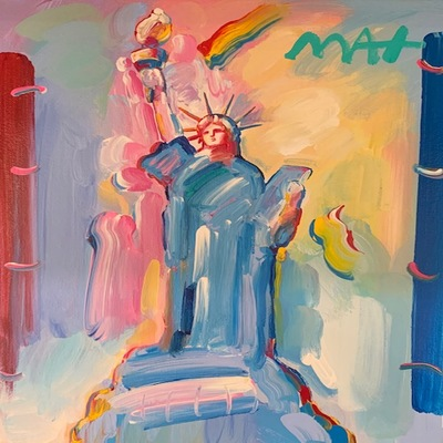 PETER MAX - Statue of Liberty - Acrylic on Canvas - 14x11 inches