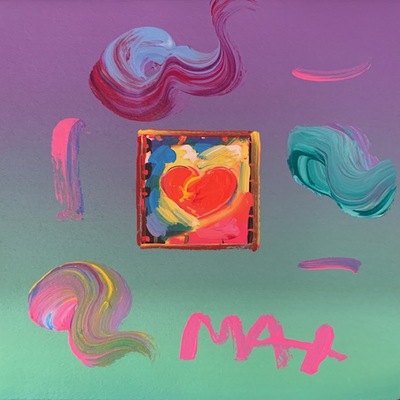 PETER MAX - Heart - Mixed Media Paper - 11x9 inches