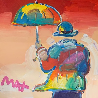 PETER MAX - Umbrella Man on Red - Mixed Media Paper - 11x11 inches