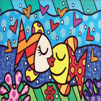 ROMERO BRITTO - Deep Love - Limited Edition Giclee on Canvas - 36x60 inches