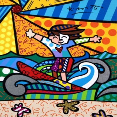 ROMERO BRITTO - Surfer Boy - Limited Edition Giclle on Canvas - 14x12 inches