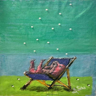 AUTUMN de FOREST - Dripping Pearls (Baby Chair) - Acrylic on Canvas - 30 x 24 inches
