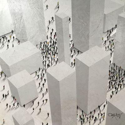 CRAIG ALAN - Monolith Town - Mixed Media on Board - 30 x 30 inches