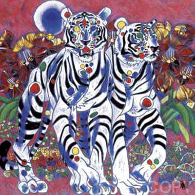 JIANG - White Tigers - Serigraph on Canvas - 44 x 44 inches