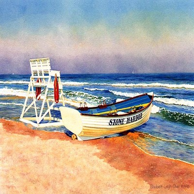 ELISABETH OLVER - Stone Harbor Boat - Limited Edition Print - 14 x 20