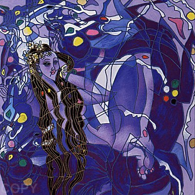 JIANG - Purple State Sweet Lady Suite - Serigraph on Canvas - 14 x 14