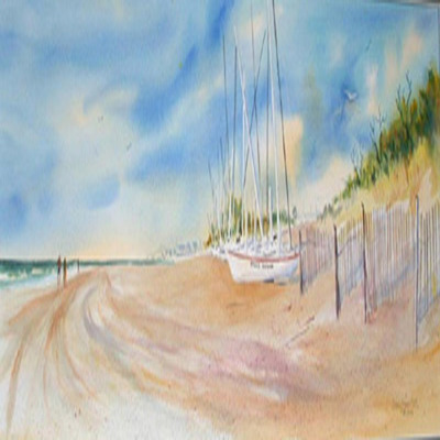 DORIS ZOGAS - Catamaran Beach - Limited Edition Print - 28 x 11 inches