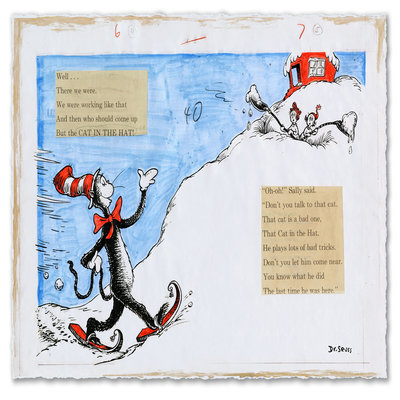 DR. SEUSS - AND THEN WHO SHOULD COME UP BUT THE CAT IN THE HAT! - Pigment Print and Collage on acid-free paper - 13.75 x 20.5 inches