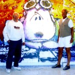 Tom Everhart (right) is the only fine artist to be educated by Schulz in his work and also entrusted to create Peanut's© artwork under his direction.