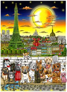 Paws in Paris HR - Copyright Charles Fazzino