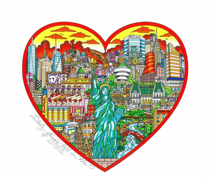 Liberty Stands Tall in the Heart of the Big Apple, Charles Fazzino©