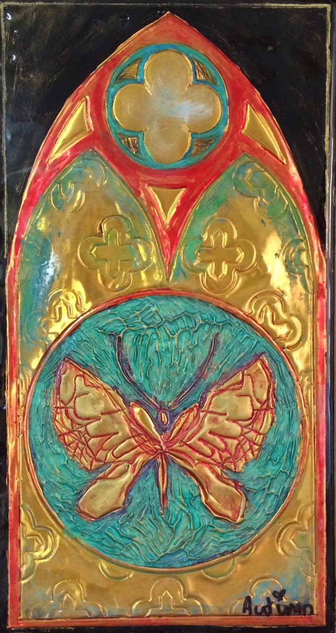 "Gothic Butterfly, Copyright Autumn de Forest, 10 x 5"", Pigment/Copper on Panel"
