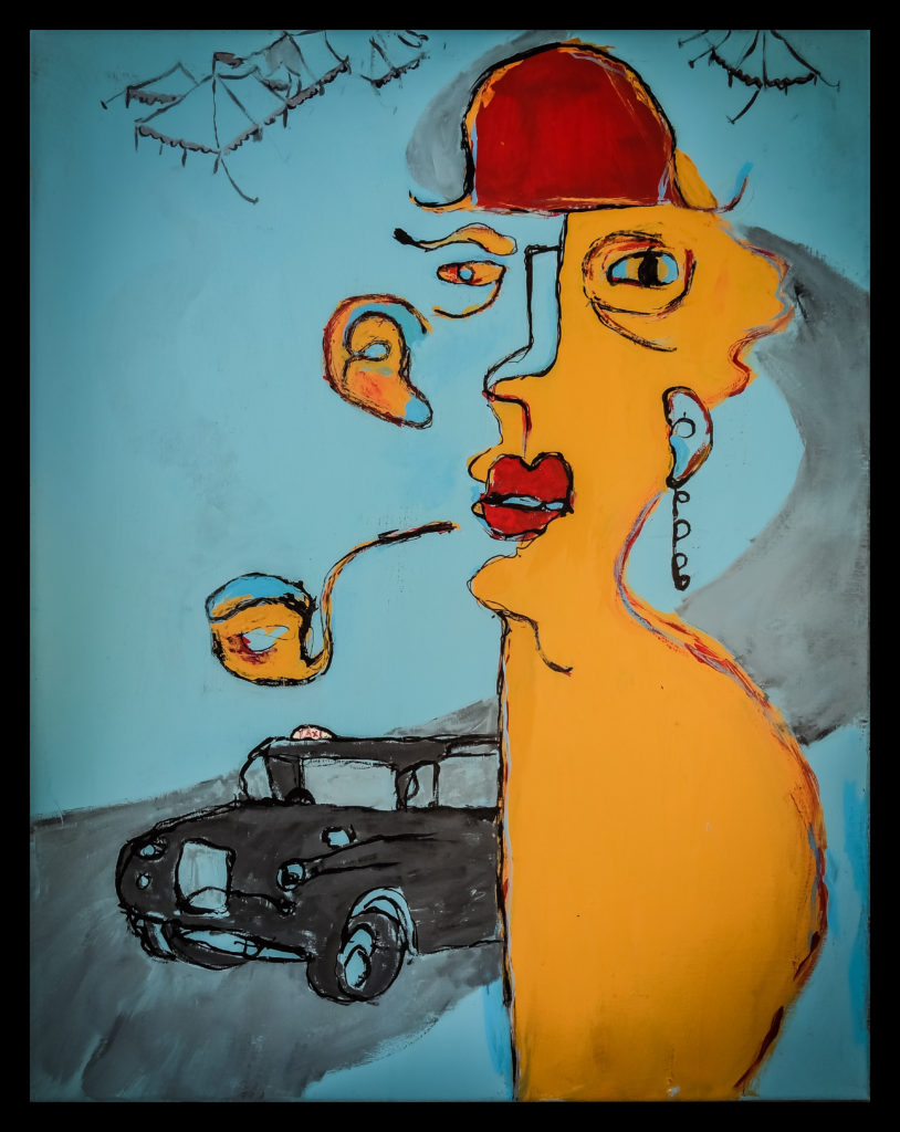 "The Gentleman and The Circus, Copyright Autumn de Forest, 24 x 32"", Acrylic on Canvas"